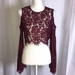 Cold shoulder lace crop top